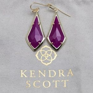 "Kendra Scott ""Olivia"" Gold & Maroon Jade Earrings"